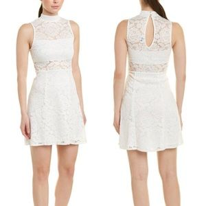 Show Me Your Mumu Alexa White Lace Mock Neck Dress